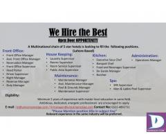 Front Office / House Keeping / Admin/ Maintenance / Spa / Kitchen Staff