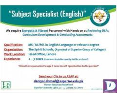 Subject Specialist English