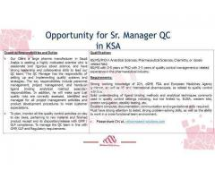 Senior Manager QC - Required for Saudia (KSA)