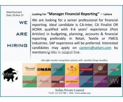 Manager Financial Reporting
