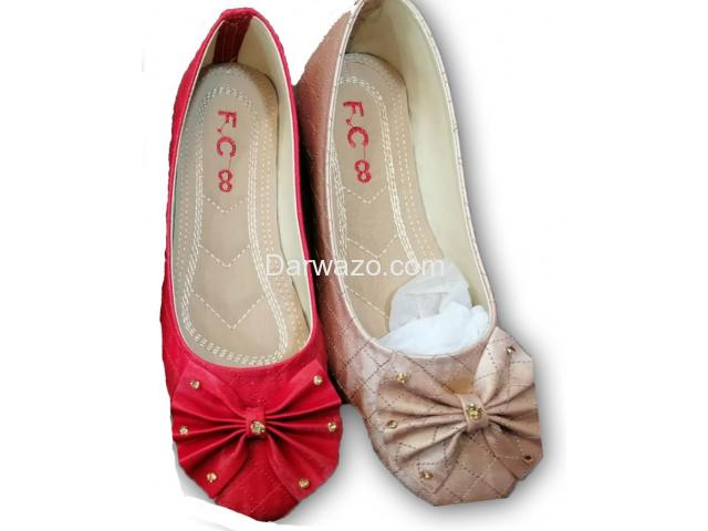 Red and Golden Flower Design Shoe Formal & Casual Shoe for Women - 1