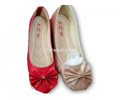 Red and Golden Flower Design Shoe Formal & Casual Shoe for Women