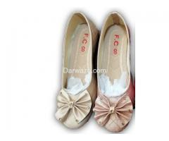 Lite Pink and Golden Flower Design Shoe Formal & Casual Shoe for Women