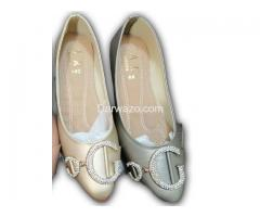 Grey and Skin Flat Shoe Formal & Casual Shoe for Women