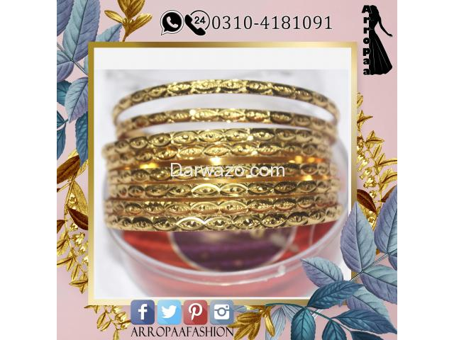 Set of 8 - 18K Gold Plated Bangles Jewelry For Girls - 1