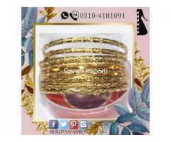 Set of 8 - 18K Gold Plated Bangles Jewelry For Girls