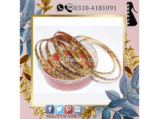 Set of 8 - 18K Gold Plated Bangles Jewelry For Girls - 2