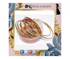 Set of 8 - 18K Gold Plated Bangles Jewelry For Girls - Image 2