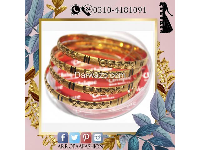 Pack of 4 - Golden 24k Gold Plated Metal Bangles For Women - 1