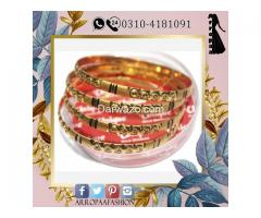 Pack of 4 - Golden 24k Gold Plated Metal Bangles For Women