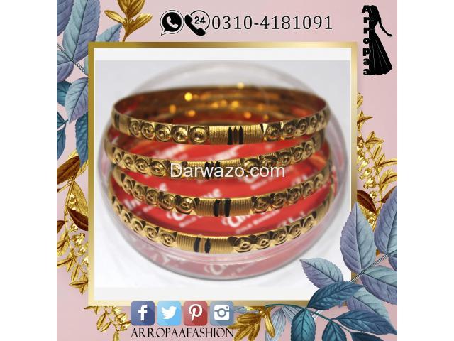 Pack of 4 - Golden 24k Gold Plated Metal Bangles For Women - 2
