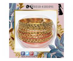Set of 12 - 32K Gold Plated Bangles Jewellery For Girls and Girl