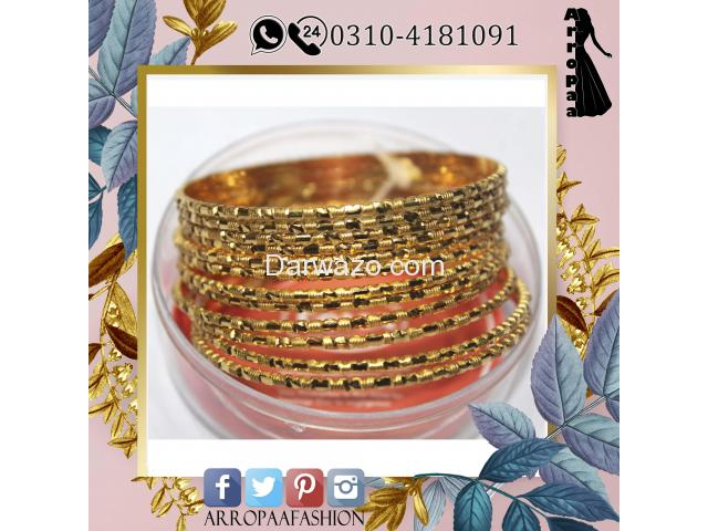 Set of 12 - 32K Gold Plated Bangles Jewellery For Girls and Girl - 2