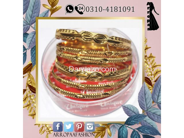 Pack of 6 - Golden 12k Gold Plated Metal Bangles For Women - 1