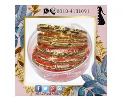 Pack of 6 - Golden 12k Gold Plated Metal Bangles For Women