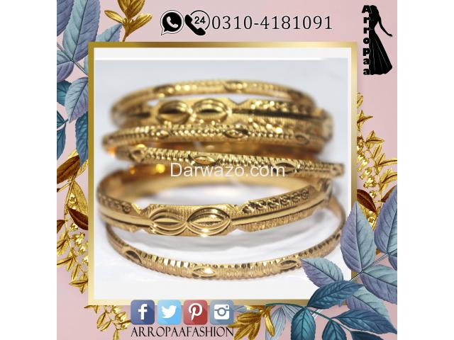 Pack of 6 - Golden 12k Gold Plated Metal Bangles For Women - 2