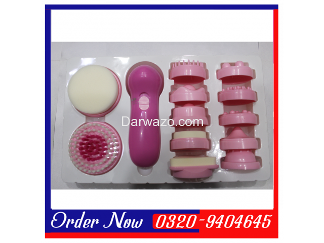 It comes with 12 textured massage attachments. The sponge massage attachment is for cleaning facial - 2