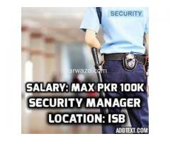 Security Manager For Bank Required - Good Salary