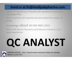 QC Analyst Required - Pharma