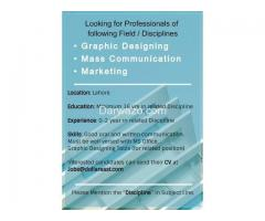 Graphics Designer/ Mass Communication / Marketing Staff Required