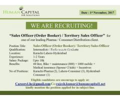 Sales Officer (Order Broker) / Territory Sales Officer - Hyderabad Karachi Lahore Multiple Positions