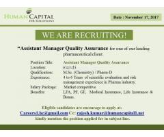 Assistant Manager Quality Assurance