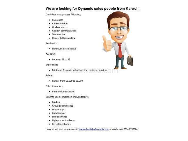 Dynamic Sales Team Required - Karachi - 1/1