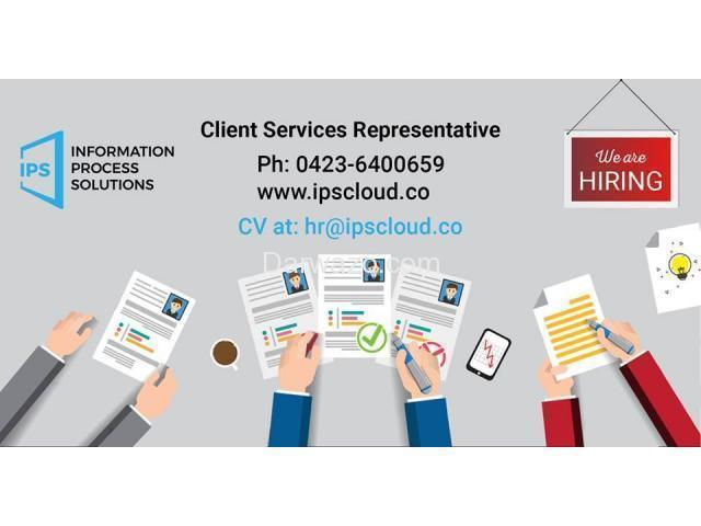Client Services Representative Required - 1/2