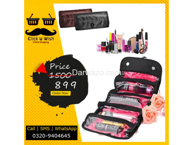 Roll N Go Cosmetic Bag, Hanging Roll-Up Make Up Organizer, Travel Bag - 1