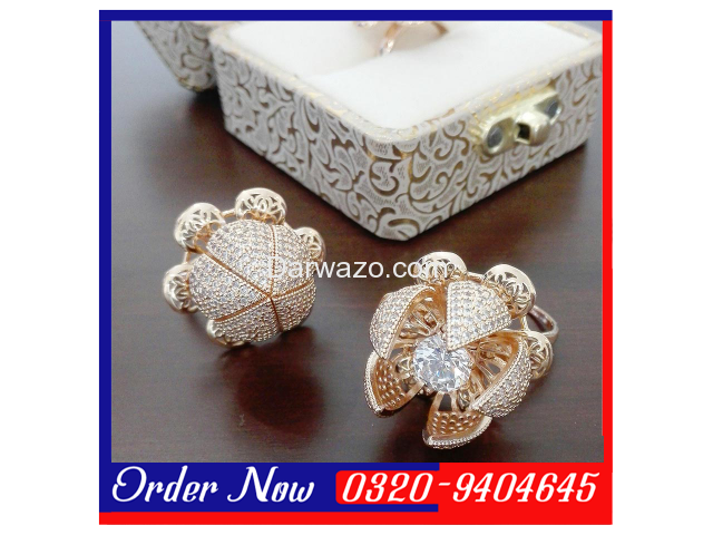 GOLD-PLATED Blooming Flower Ring With Pear Cut Zirconia - Wommen - 2