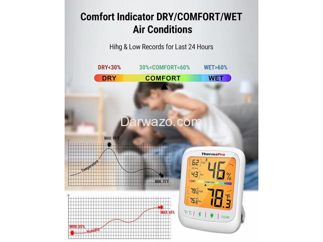Thermometer Hygrometer Humidity Temperature Monitor Bluetooth App Controlled - 6