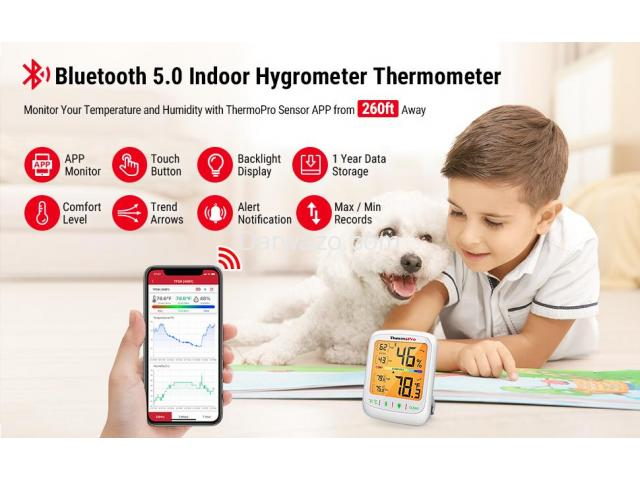 Thermometer Hygrometer Humidity Temperature Monitor Bluetooth App Controlled - 7