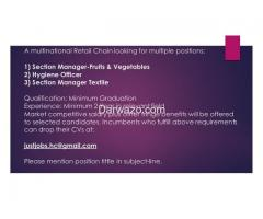 Section Manager Textile - Multiple Position (Hygiene Officer/Fruits & Vegetables)