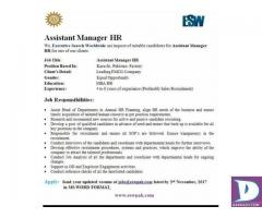 Assistant Manager HR Required
