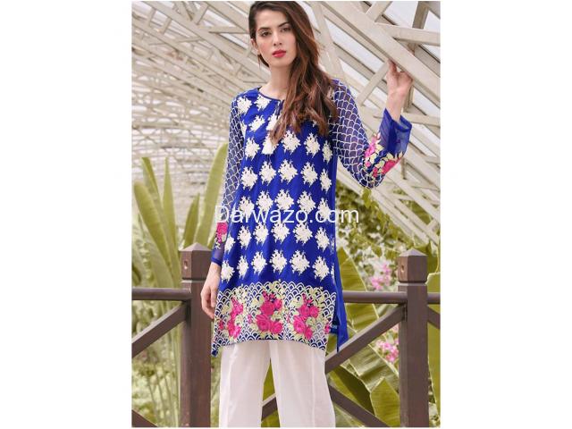 Nimsay Linen Blue Dress In Pakistan - 1