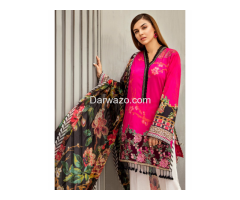 Pink & Skin Linen Dress In lahore - Image 1