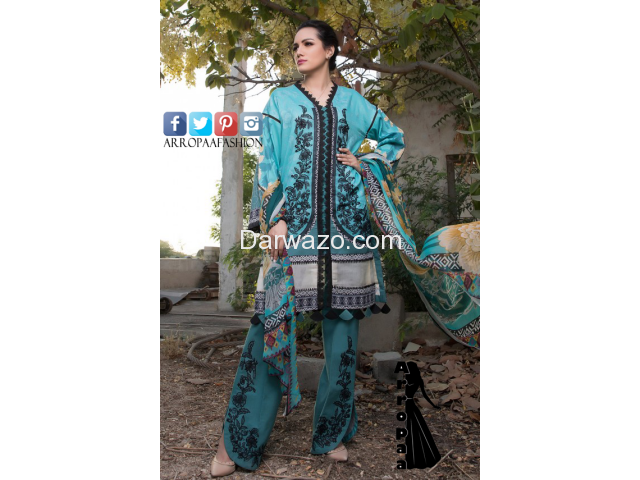 Ombre Firdous Blue Linen Dress In Pakistan - 1