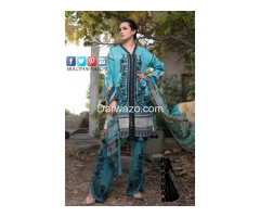 Ombre Firdous Blue Linen Dress In Pakistan - Image 1