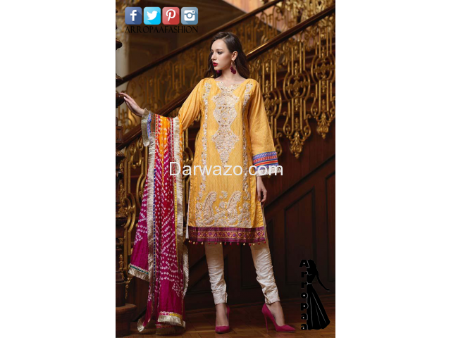 Yellow Mehndi Mahiymaan Linen Dress In karachi - 1