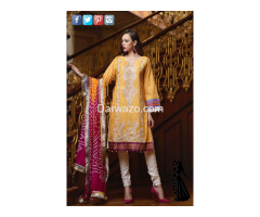 Yellow Mehndi Mahiymaan Linen Dress In karachi - Image 1