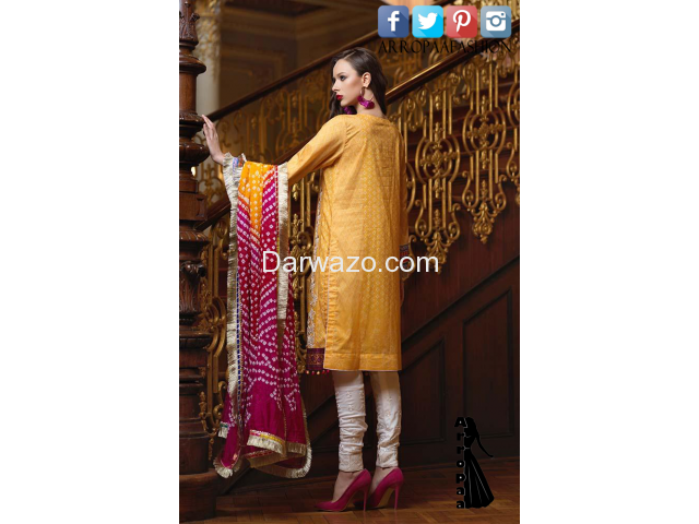 Yellow Mehndi Mahiymaan Linen Dress In karachi - 2