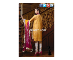 Yellow Mehndi Mahiymaan Linen Dress In karachi - Image 2