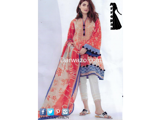 Khaadi Orange Linen Dress In Pakistan - 1