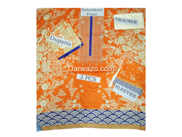 Khaadi Orange Linen Dress In Pakistan - 2