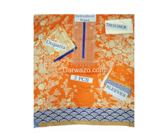 Khaadi Orange Linen Dress In Pakistan - Image 2