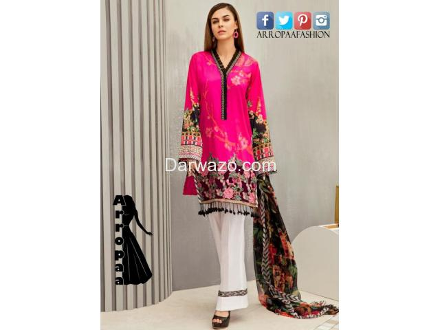 Iznik Fuchsia Rose Linen Dress In Pakitan - 1