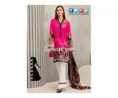 Iznik Fuchsia Rose Linen Dress In Pakitan - Image 1