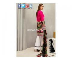 Iznik Fuchsia Rose Linen Dress In Pakitan - Image 2