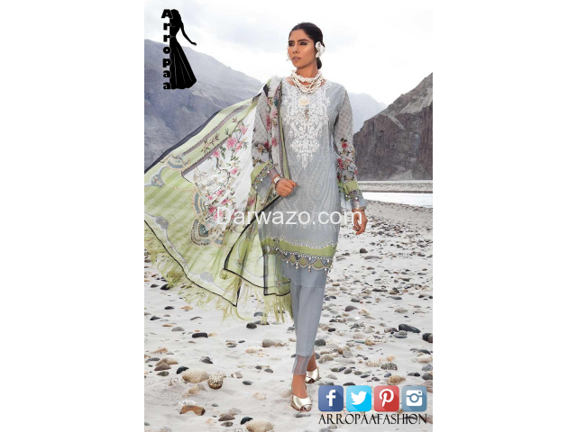 Mbroidered Gray Linen Dress In Pakistan - 1