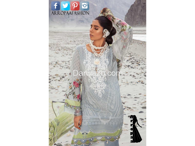 Mbroidered Gray Linen Dress In Pakistan - 2